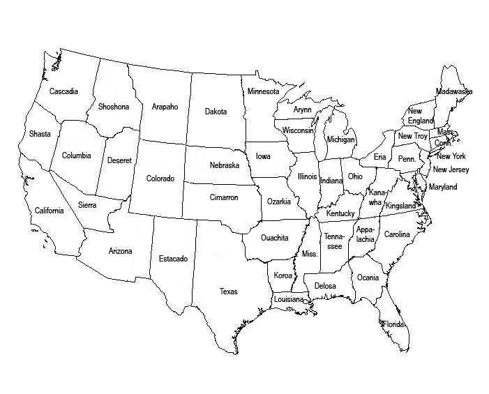 The United States Map Without Names